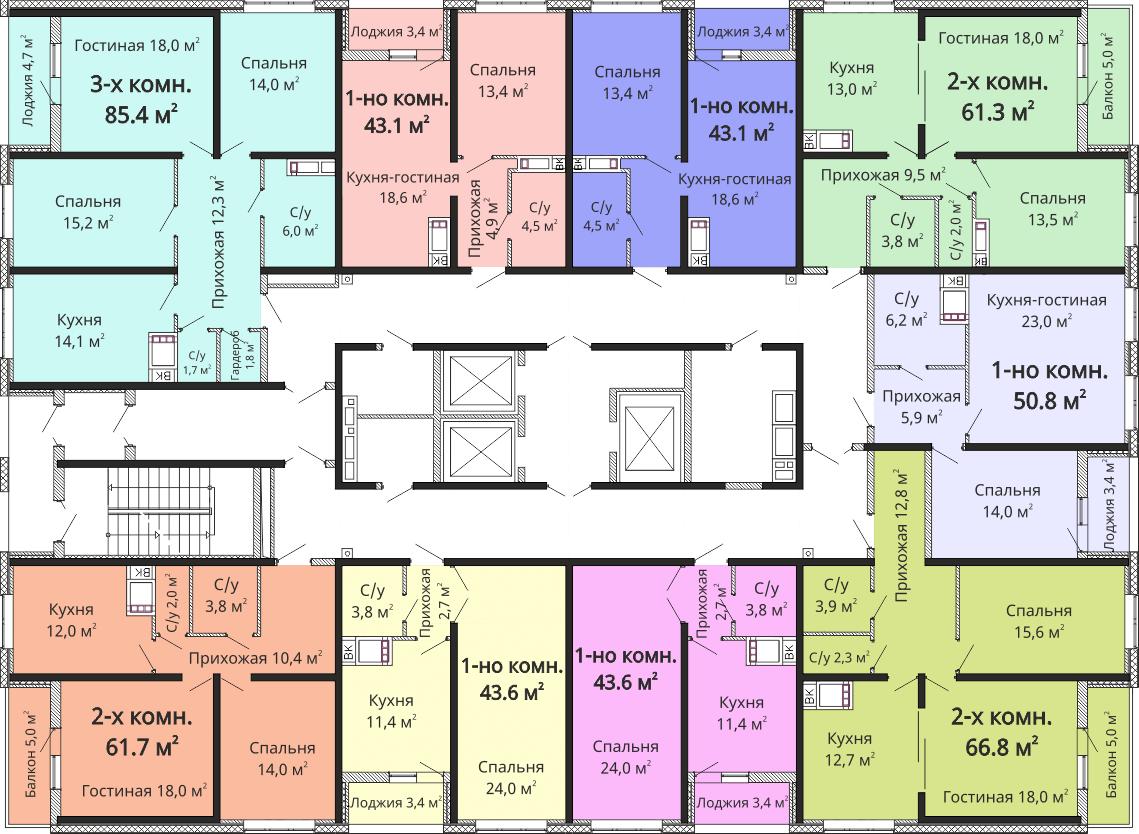 ЖК Омега / Секция №4 / План 2-13 этажей