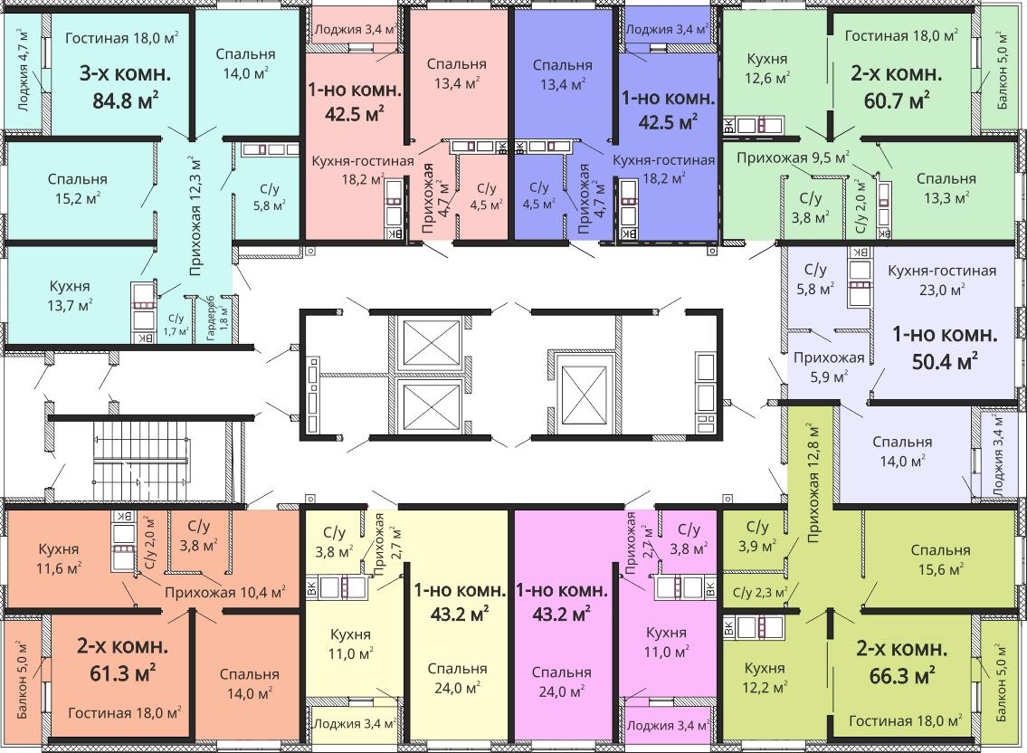 ЖК Омега / Секция №6 / План 14-21 этажей
