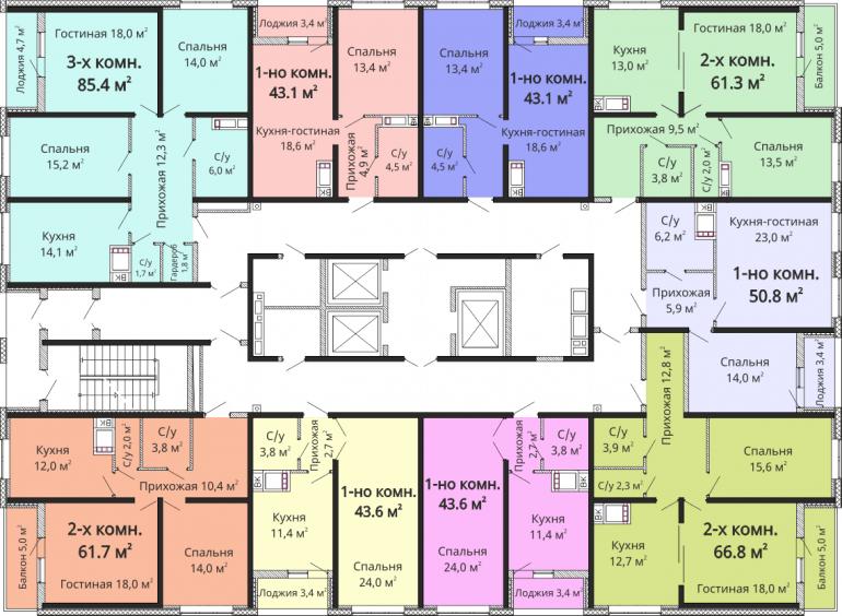 ЖК Омега / Секция №6 / План 2-13 этажей