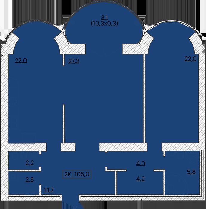 ЖК Французский бульвар 29 Двухкомнатная 105 Планировка