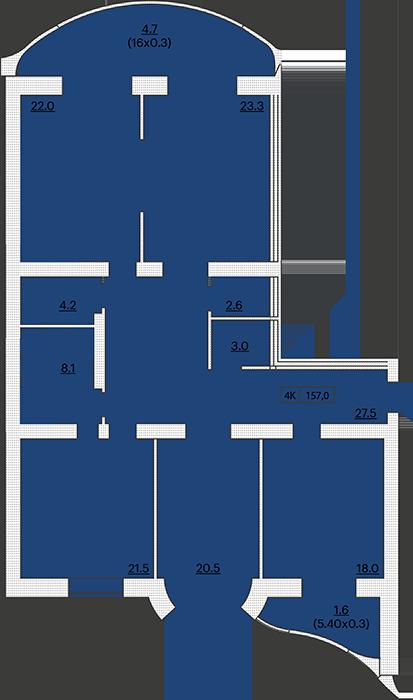 ЖК Французский бульвар 29 Четырехкомнатная 157 Планировка 1