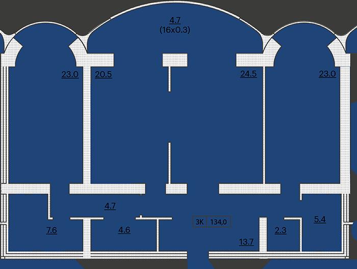 ЖК Французский бульвар 29 Трехкомнатная 134 Планировка