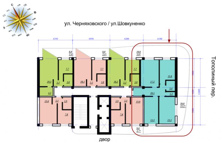 ЖК Сады Семирамиды Трехкомнатная 88 Расположение на этаже