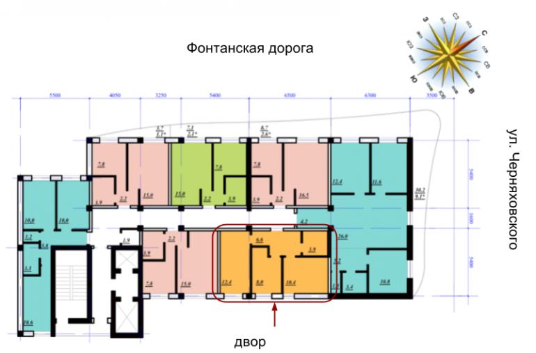 ЖК Сады Семирамиды Двухкомнатная 41,3 Расположение на этаже