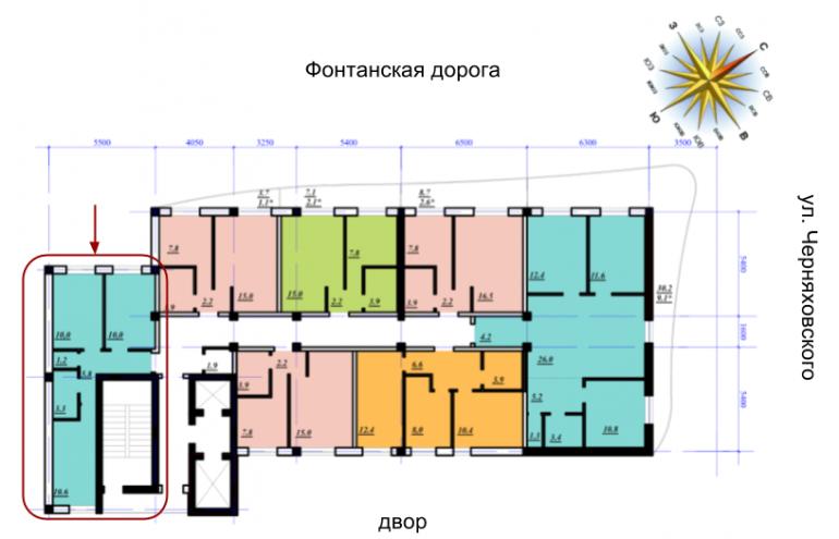ЖК Сады Семирамиды Двухкомнатная 41,5 Расположение на этаже