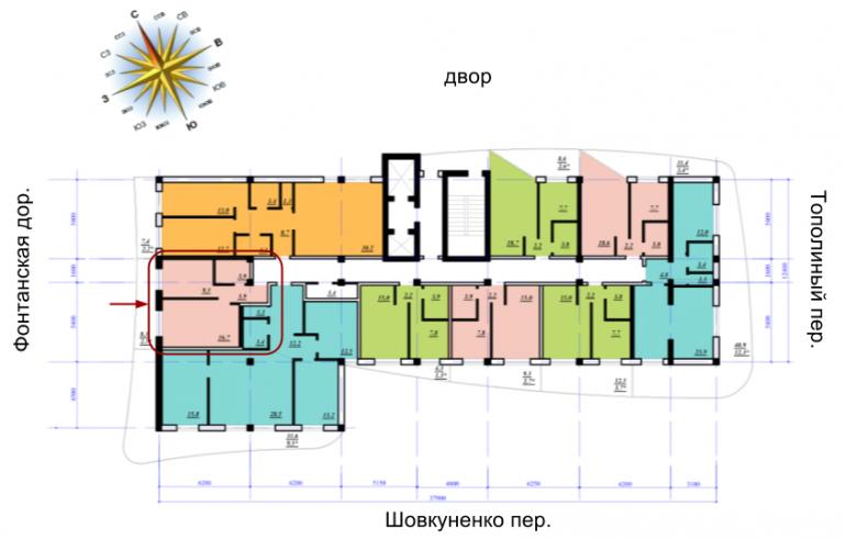 ЖК Сады Семирамиды Однокомнатная 36,3 Расположение на этаже