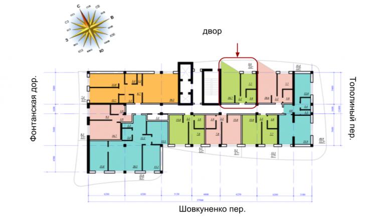 ЖК Сады Семирамиды Однокомнатная 35 Расположение на этаже