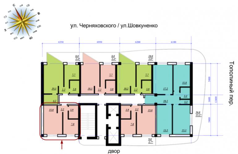 ЖК Сады Семирамиды Однокомнатная 28,9 Расположение на этаже