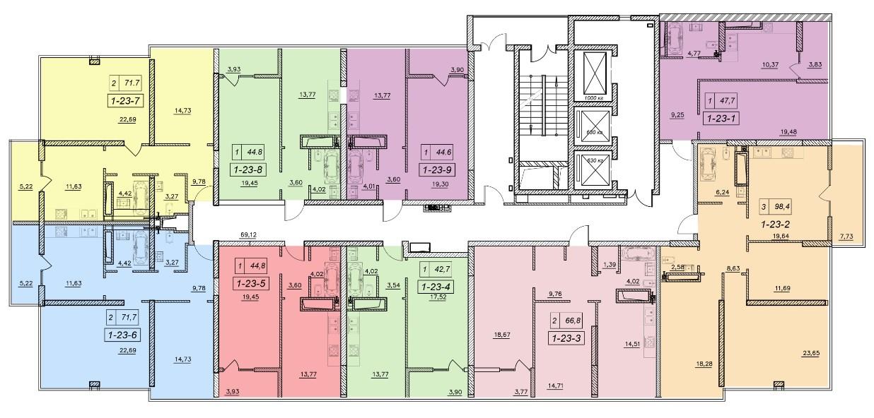 ЖК 19 Жемчужина Секция 1 План 23-го этажа