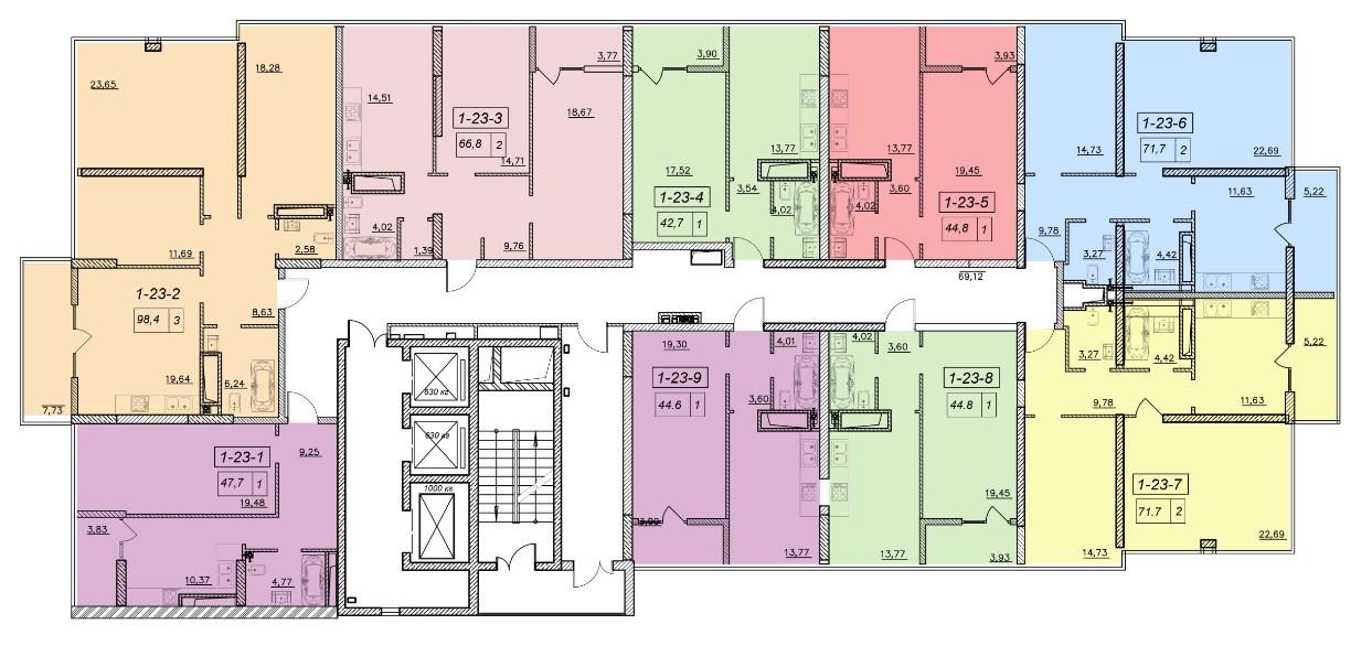 ЖК 19 Жемчужина Секция 2 План 23-го этажа