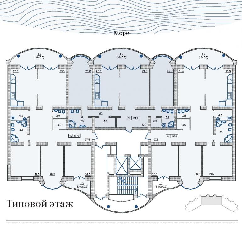 ЖК Французский бульвар 29 / Секция 2 / План типового этажа