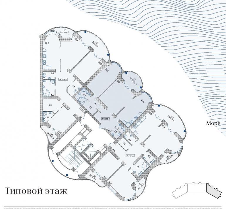 ЖК Французский бульвар 29 / Секция 3 / План типового этажа