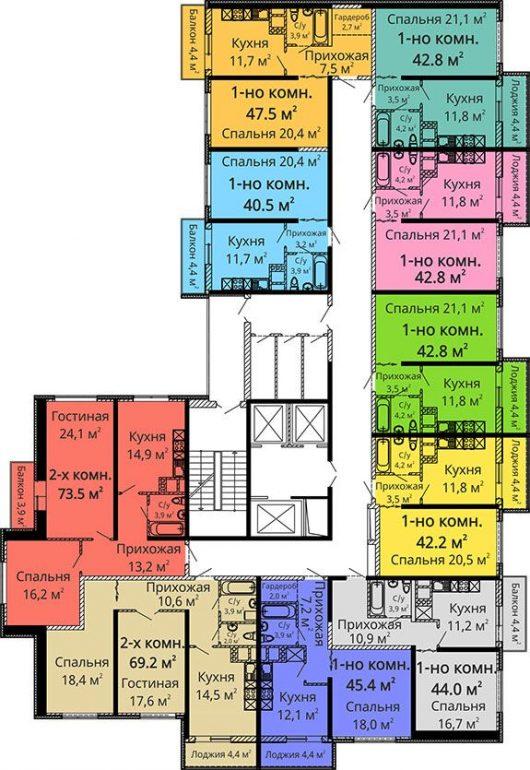ЖК Апельсин / Секция №1 / План 2-3,6-7,10-11,14-15 этажей