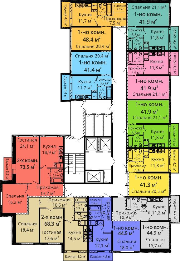 ЖК Апельсин / Секция №1 / План 4-5,8-9,12-13,16-17 этажей