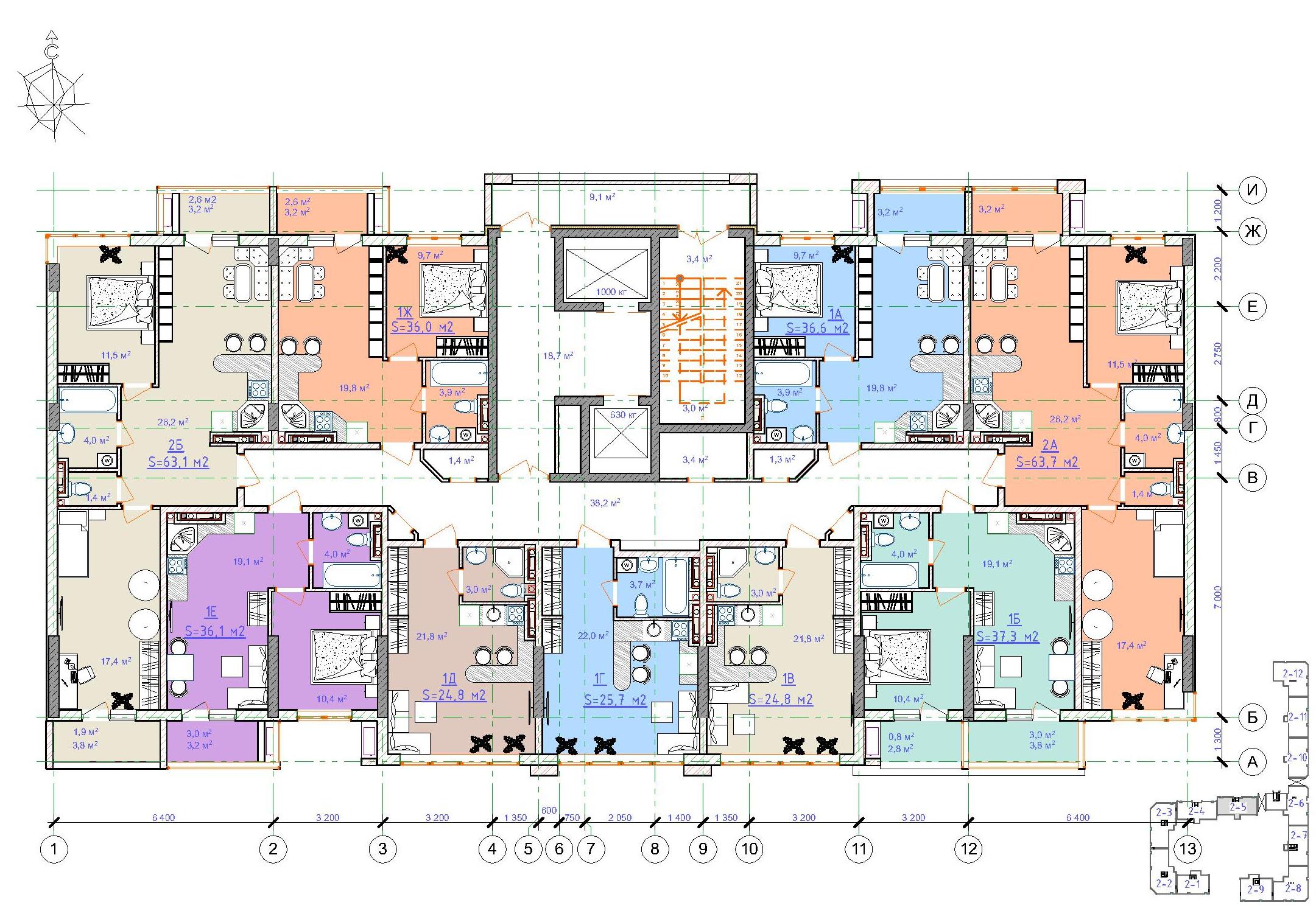 ЖК Таировские сады / Дом №2 / Секция 5 / План 12 этажа