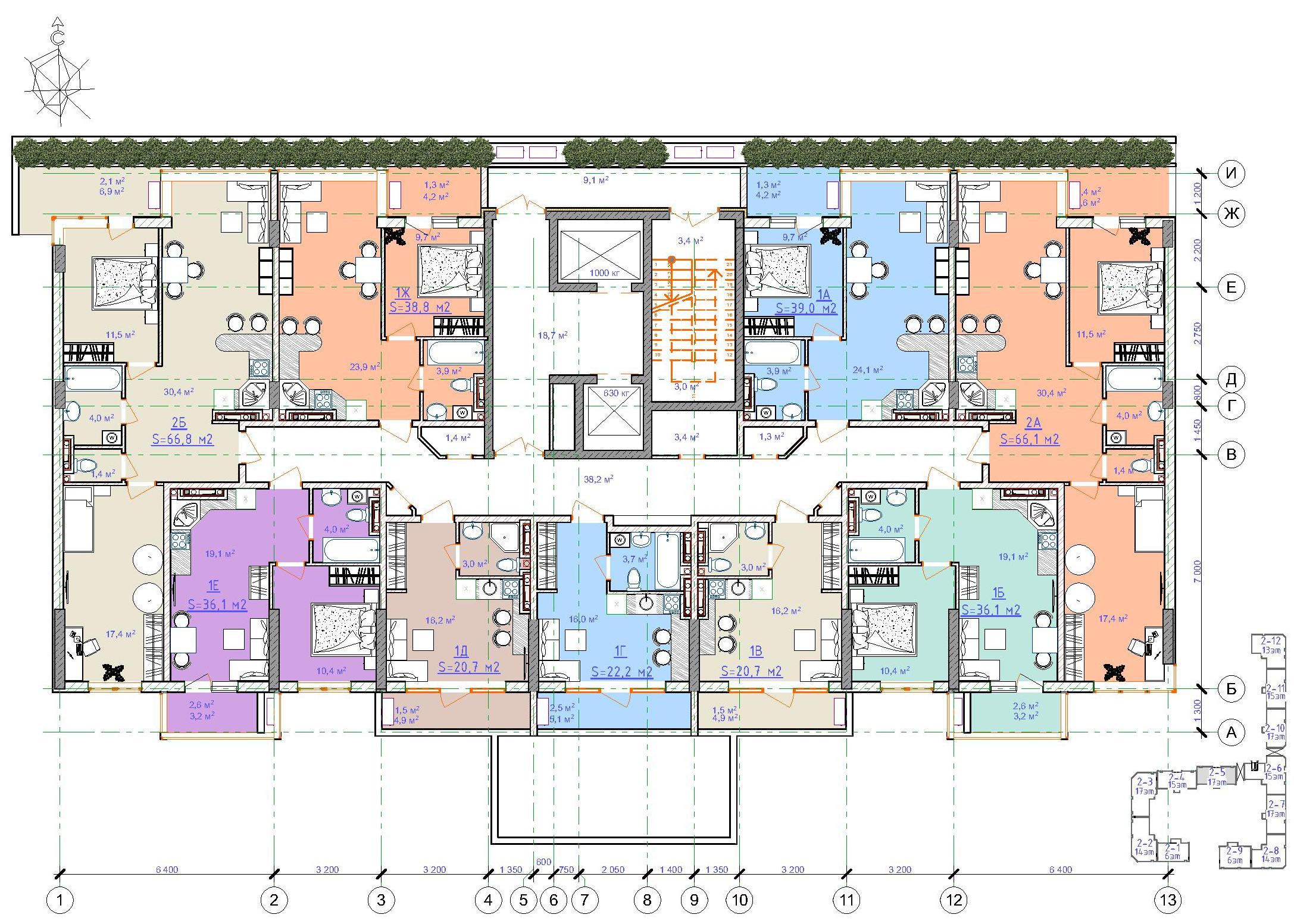 ЖК Таировские сады / Дом №2 / Секция 5 / План 2-го этажа