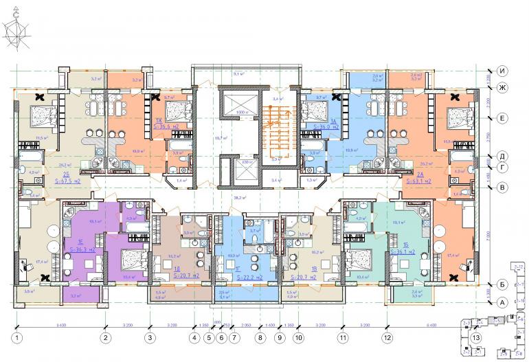 ЖК Таировские сады / Дом №2 / Секция 5 / План 8-9 этажей