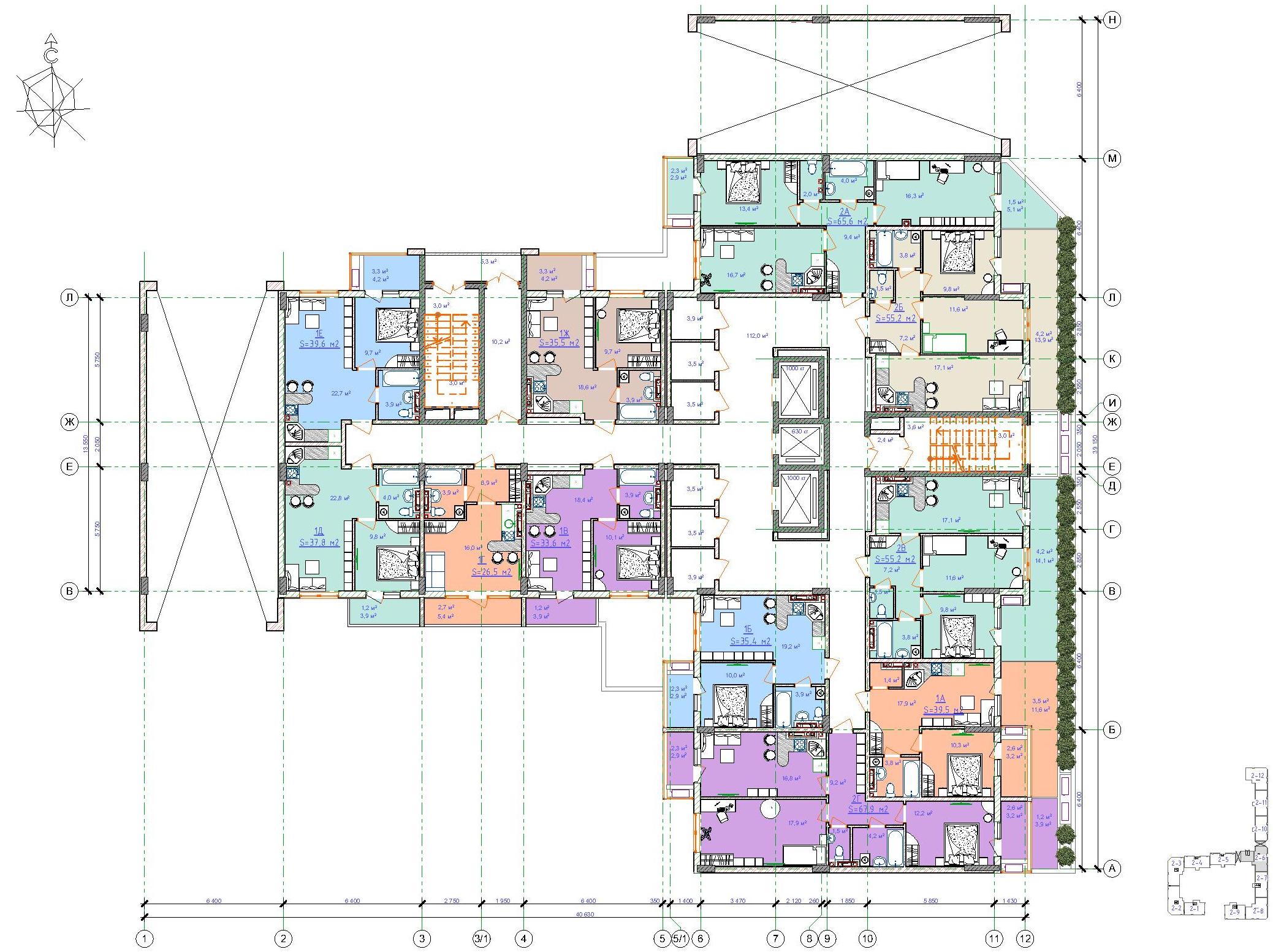 ЖК Таировские сады / Дом №2 / Секция 6 / План 2-го этажа