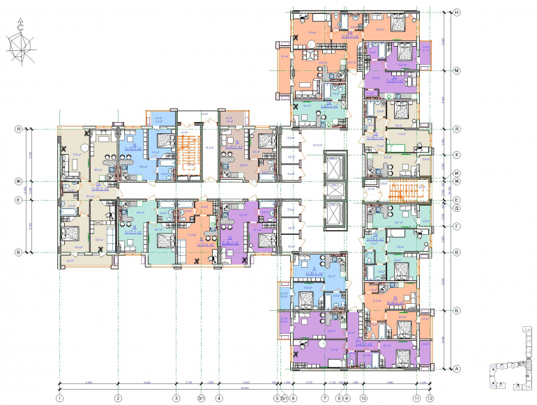 ЖК Таировские сады / Дом №2 / Секция 6 / План 3-5 этажей