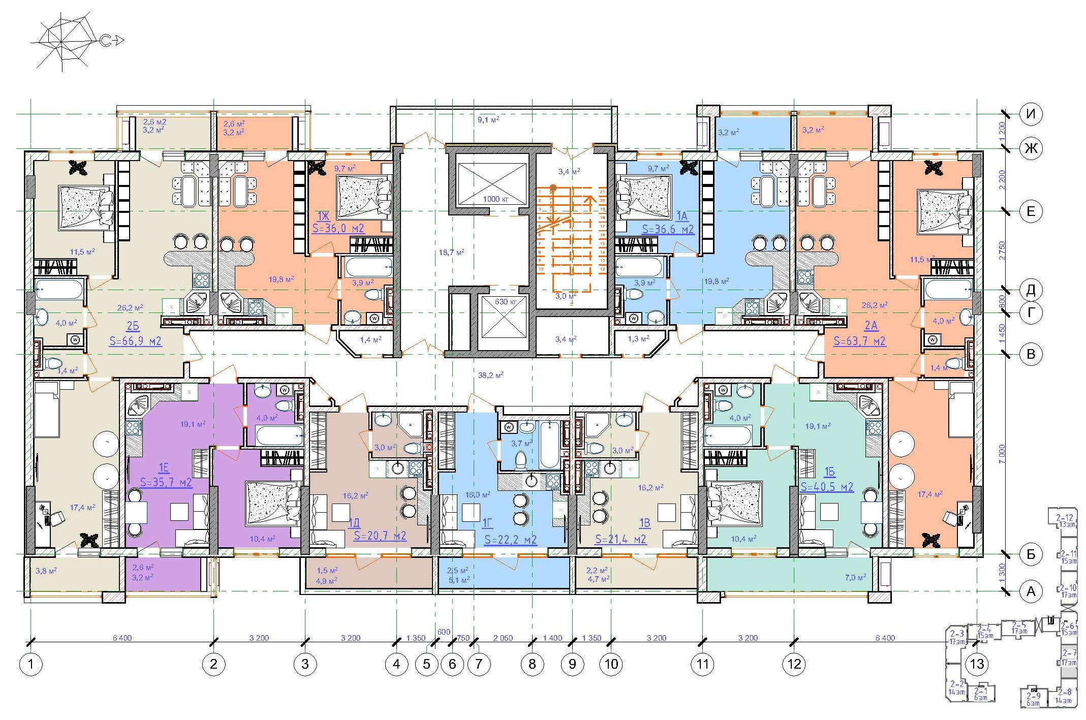 ЖК Таировские сады / Дом №2 / Секция 7 / План 10-11 этажей