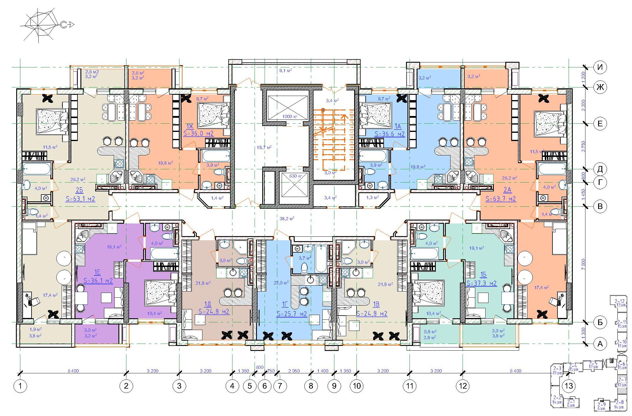 ЖК Таировские сады / Дом №2 / Секция 7 / План 12 этажа