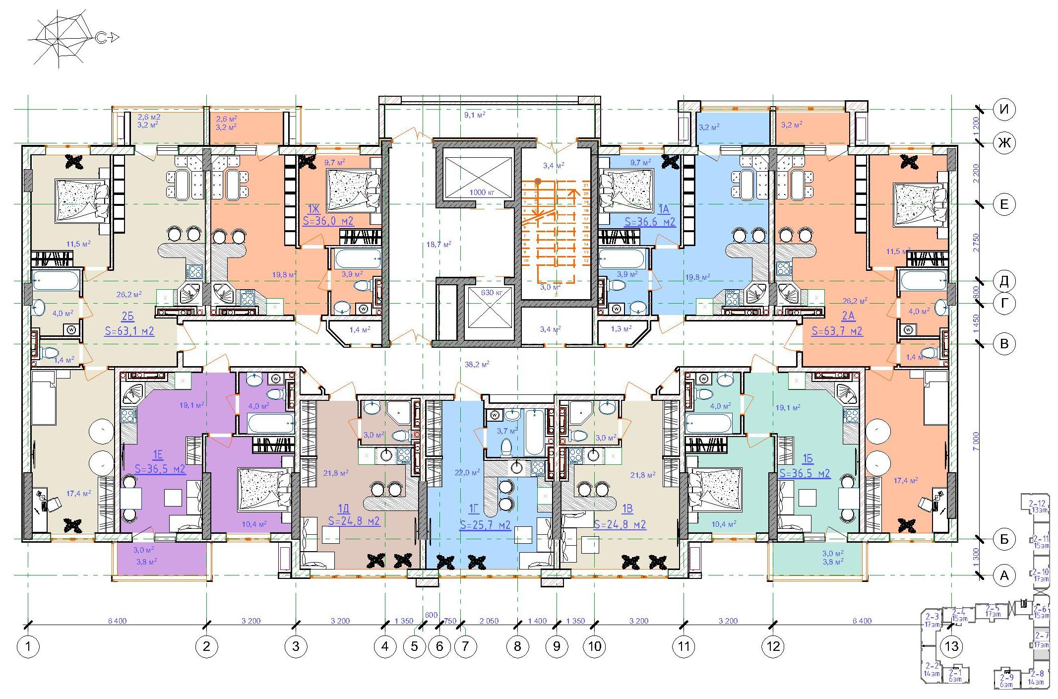 ЖК Таировские сады / Дом №2 / Секция 7 / План 3-5 этажей