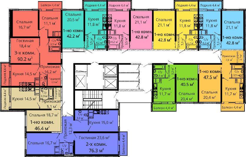 ЖК Апельсин / Секция №2 / План 2-3,6-7,10-11,14-15 этажей