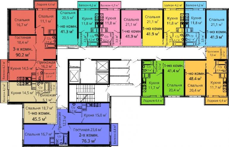 ЖК Апельсин / Секция №2 / План 4-5,8-9,12-13,16-17 этажей