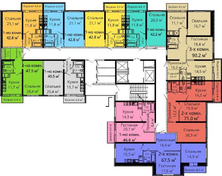 ЖК Апельсин / Секция №3 / План 2-3,6-7,10-11,14-15 этажей