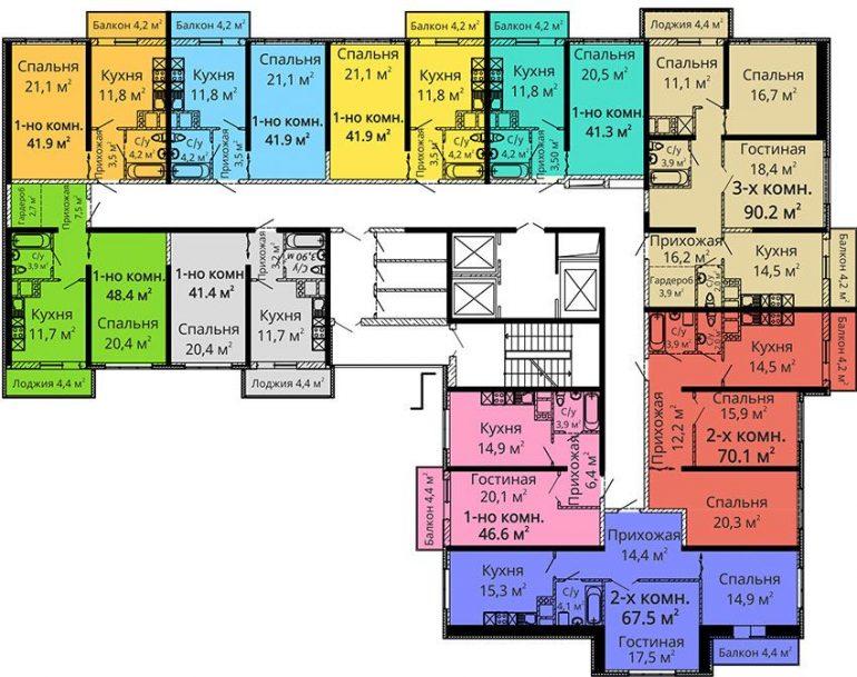 ЖК Апельсин / Секция №3 / План 4-5,8-9,12-13,16-17 этажей