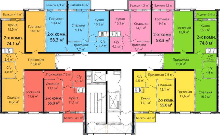 ЖК Михайловский городок / Секция №5 / План типового этажа
