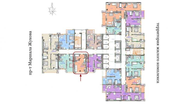ЖК Таировские сады 2ПК Смарт-квартира 29,6 Расположение на этаже