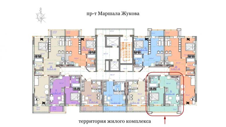 ЖК Таировские сады 2ПК Однокомнатная 40,5 Расположение на этаже