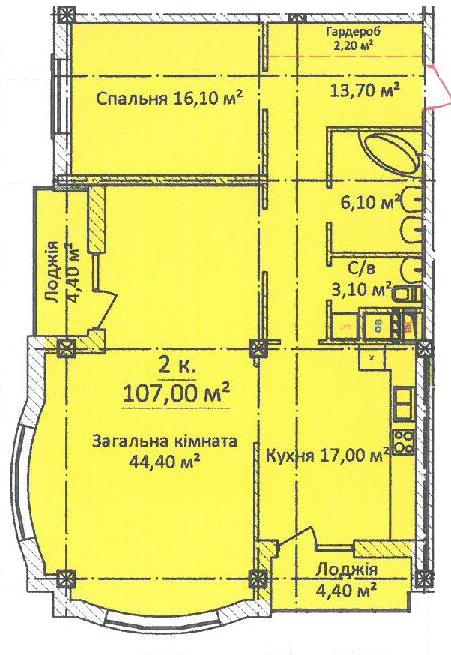 ЖК Дом на Еврейской (Чайная фабрика Будова) Однокомнатная 107 Планировка