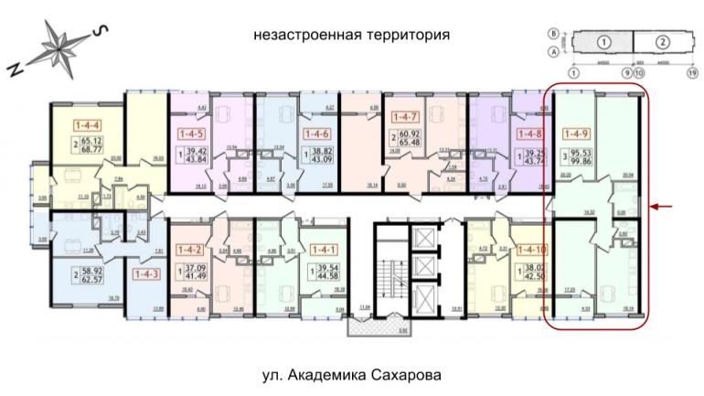 96,9 кв.м 30 Жемчужина Трехкомнатная Расположение на этаже