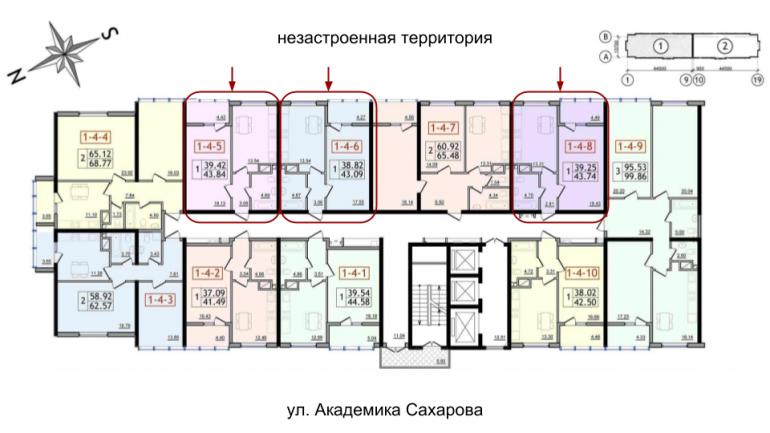 41,97 кв.м 30 Жемчужина Однокомнатная Расположение на этаже
