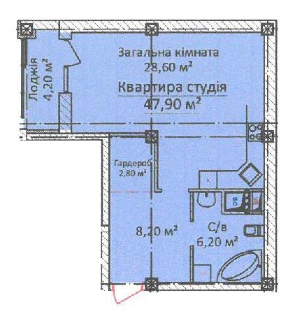 ЖК Дом на Еврейской (Чайная фабрика Будова) Однокомнатная 47,9 Планировка