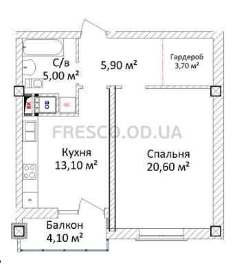 ЖК Дом на Еврейской (Чайная фабрика Будова) Однокомнатная 49,5 Планировка