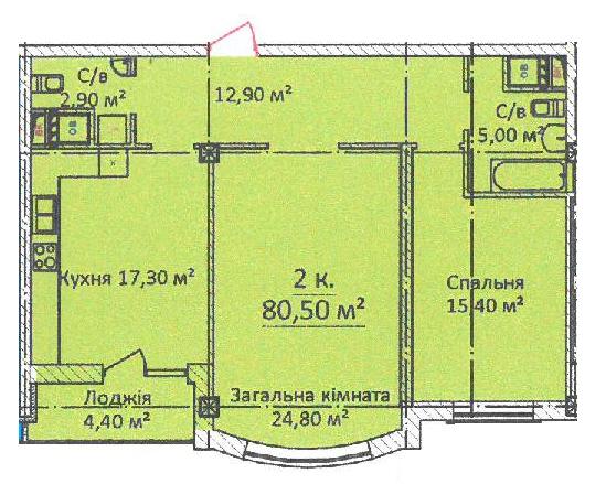 ЖК Дом на Еврейской (Чайная фабрика Будова) Однокомнатная 80,5 Планировка