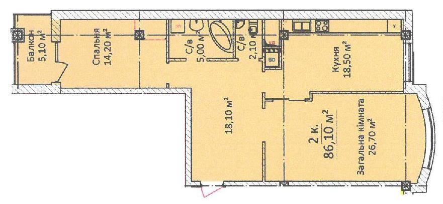 Двухкомнатная - ЖК Дом на Еврейской, 3 (Чайная фабрика Будова)ПроданаПлощадь:86,1m²