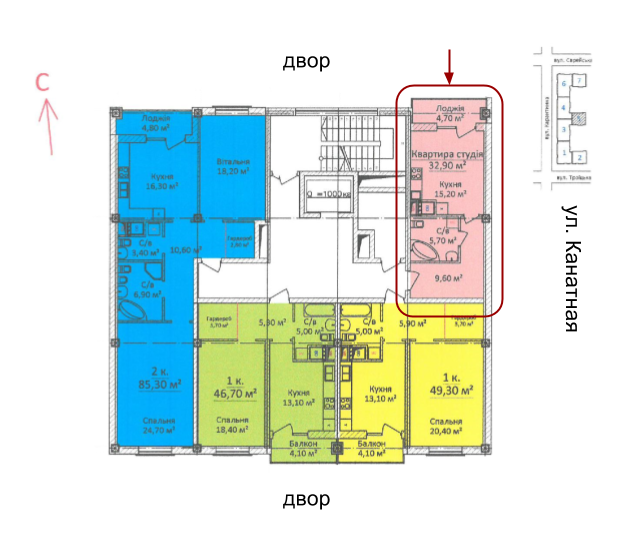 ЖК Дом на Еврейской (Чайная фабрика Будова) Студия 54,5 Расположение на этаже