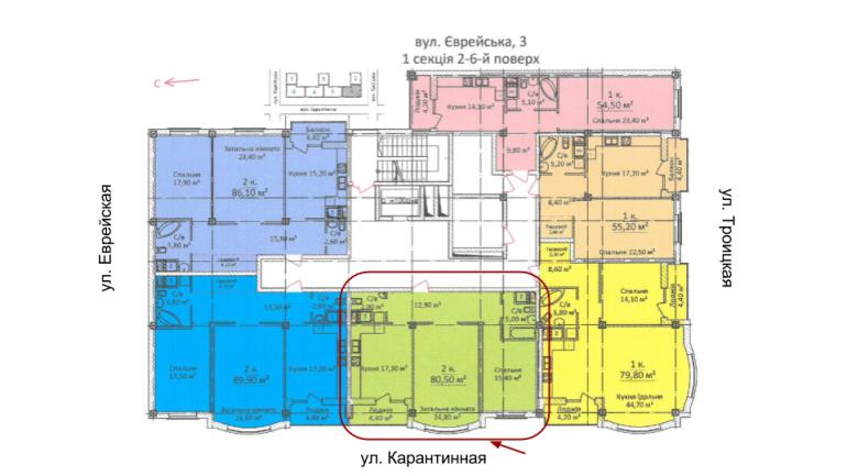 ЖК Дом на Еврейской (Чайная фабрика Будова) Однокомнатная 80,5 Расположение на этаже
