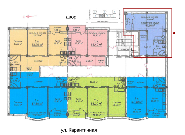ЖК Дом на Еврейской (Чайная фабрика Будова) Однокомнатная 47,9 Расположение на этаже