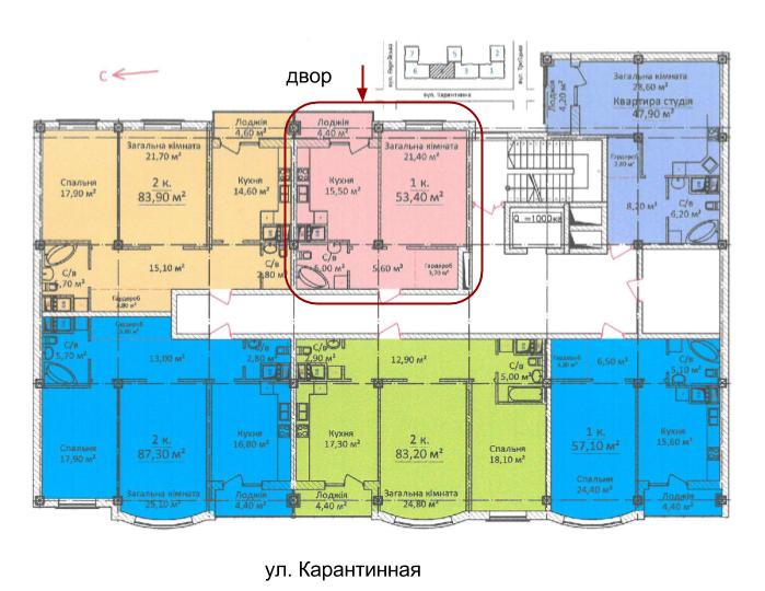 ЖК Дом на Еврейской (Чайная фабрика Будова) Однокомнатная 53,4 Расположение на этаже