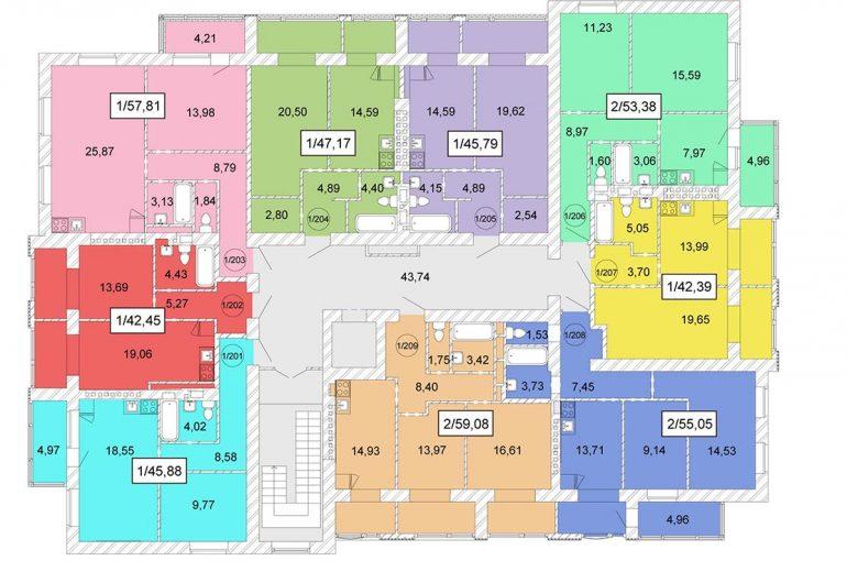 ЖК Одесская Чайка / План типового этажа