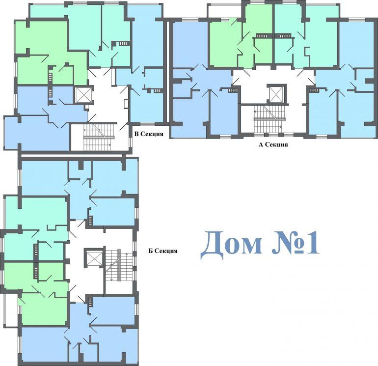 ЖК Якоря / Дом №1 / План типовых этажей
