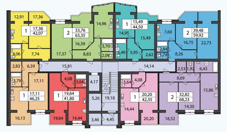 ЖК Чайка / Секция 1 / План типового этажа