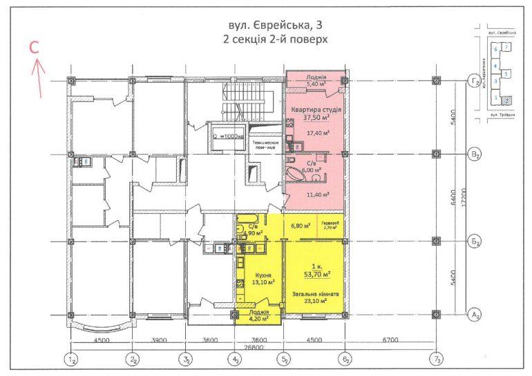 ЖК Дом на Еврейской (Чайная фабрика Будова) / Секция 2 / 2 этаж