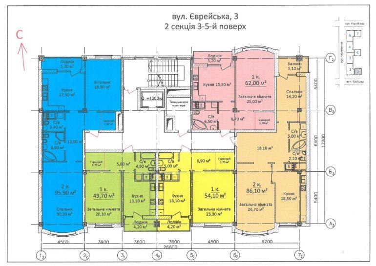 ЖК Дом на Еврейской (Чайная фабрика Будова) / Секция 2 / 3-5 этажи