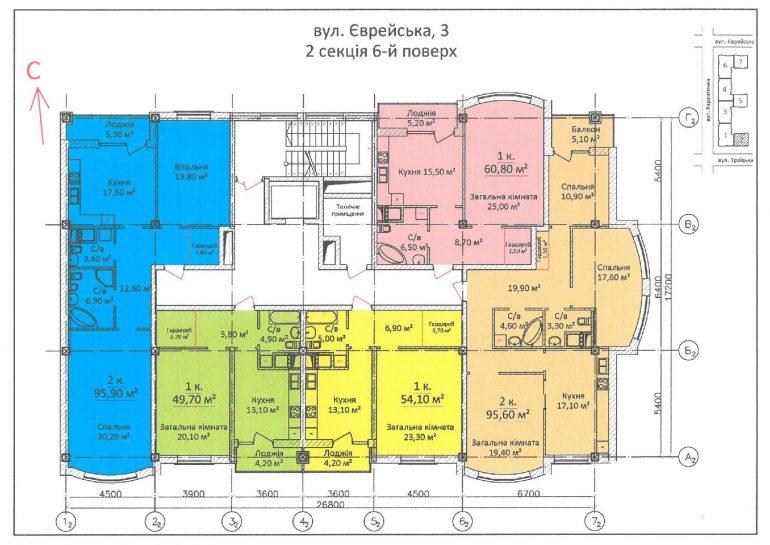 ЖК Дом на Еврейской (Чайная фабрика Будова) / Секция 2 / 6 этаж